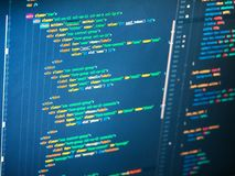 PHP code on the screen, close up. royalty free stock photos