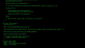 Php codeprogramation die op het computerscherm lopen met zwarte achtergrond royalty-vrije illustratie