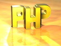 PHP de 3D Word sur le fond jaune Image libre de droits