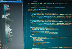 Php developing of the site in the code editor. Php code in the code editor Royalty Free Stock Photography