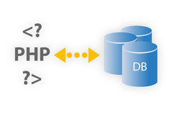 PHP e base de dados Fotografia de Stock Royalty Free