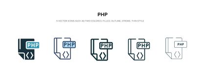 Php icon in different style vector illustration. two colored and black php vector icons designed in filled, outline, line and