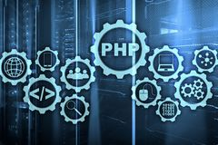 PHP programming language. Developing programming and coding technologies.Cyber space concept. PHP programming language. Developing programming and coding royalty free stock photo