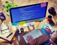 PHP que programa o conceito do Cyberspace da codificação do HTML foto de stock