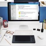 PHP que programa o conceito do Cyberspace da codificação do HTML fotografia de stock