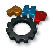 Php tag and cogwheel. On blue squared surface - 3d illustration Royalty Free Stock Image
