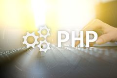 PHP, Web development concept on virtual screen. PHP, Web development concept on virtual screen stock photos