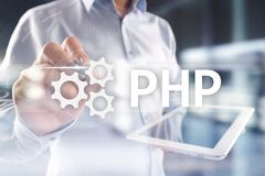 PHP, Web development concept on virtual screen. PHP, Web development concept on virtual screen stock illustration