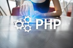 PHP, Web development concept on virtual screen. PHP, Web development concept on virtual screen stock photography