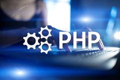 PHP, Web development concept on virtual screen. PHP, Web development concept on virtual screen royalty free stock image