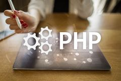 PHP, Web development concept on virtual screen. PHP, Web development concept on virtual screen stock photo