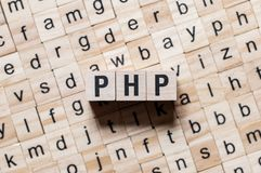 Php woordconcept stock foto's