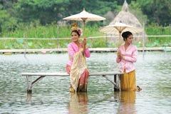 Phra Aphai Mani. AYUTHAYA, THAILAND - AUGUST 27: Unidentified Thai dancer perform the Thai literature called Phra Aphai Mani at Ayutthaya Klong Sa Bua & Water Royalty Free Stock Photos