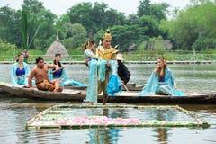 Phra Aphai Mani. AYUTHAYA, THAILAND - AUGUST 27: Unidentified Thai dancer perform the Thai literature called Phra Aphai Mani at Ayutthaya Klong Sa Bua & Water royalty free stock image