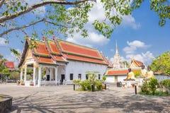 In Phra Borommathat Chaiya Worawihan, een oude tempel bij Chaiya-district, de provincie van Surat Thani, Zuiden van Thailand Royalty-vrije Stock Afbeeldingen