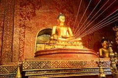 Phra Buddha Sihing statue inside Wihan Lai Kham. Wihan Lai Kham is in Wat Phra Singh Woramahaviharn,a Buddhist temple at the end of the Rachadamnoen road in Stock Photography