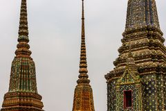 Phra Chedi Rai monuments at the Wat Pho Temple, Bangkok, Thailand. Phra Chedi Rai, monuments built by King Rama III to hold the ashes of the royal family, at the Stock Photos