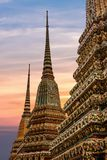 Phra Chedi Rai monuments at the Wat Pho Temple, Bangkok, Thailand. Phra Chedi Rai, monuments built by King Rama III to hold the ashes of the royal family, at the Royalty Free Stock Photography
