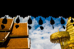 Phra That Doi Suthep. In Thailand with silhouette bells in foreground Royalty Free Stock Image