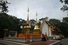 Phra that Doi tumg (พระธาตุดอยตุง). Phra that Doi tung on rainy day Royalty Free Stock Images