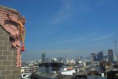 Phra Khrut Pha looks over Bangkok royalty free stock images