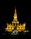 Phra that luang. At night, Vientiane, Laos stock images