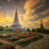 Phra Maha Dhatu Nabha Metaneedol, pagoda al parco nazionale di Doi Inthanon, Tailandia Fotografia Stock