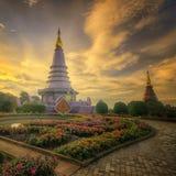 Phra Maha Dhatu Nabha Metaneedol, Pagode bij het Nationale Park van Doi Inthanon, Thailand stock fotografie