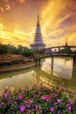 Phra Maha Dhatu Nabha Metaneedol, Pagode bij het Nationale Park van Doi Inthanon, Thailand royalty-vrije stock fotografie