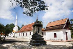 Phra Mahathat Chedi of Wat Kiean Bang Kaew in Khao Chaison District of Phatthalung, Thailand. Phra Mahathat Chedi for Thai people visit and respect praying at Royalty Free Stock Images