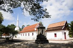 Phra Mahathat Chedi of Wat Kiean Bang Kaew in Khao Chaison District of Phatthalung, Thailand. Phra Mahathat Chedi for Thai people visit and respect praying at stock photo