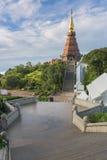 Phra Mahathat Napha Methanidon and Phra Mahathat Naphaphon Bhumisiri, a twin pagodas in Thailand. Panorama view of Phra Mahathat Napha Methanidon and Phra Royalty Free Stock Image