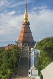Phra Mahathat Napha Methanidon and Phra Mahathat Naphaphon Bhumisiri, a twin pagodas in Thailand. Panorama view of Phra Mahathat Napha Methanidon and Phra Royalty Free Stock Photos