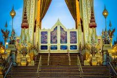 Exhibition on royal cremation ceremony of His Majesty King Bhumibol Adulyadej,Sanam Luang,Bangkok,Thailand on November7,2017:Fire Stock Photos