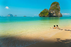 Phra-Nang Beach. Is the famous beach of Krabi province, Southern of Thailand Royalty Free Stock Photo