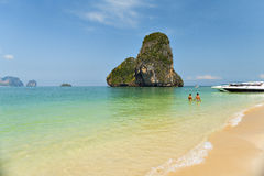 Phra-nang cave beach. Locate near east and west railay bay beach. It's paradise beach for tourism diving and sunbathing on vacation.And it's location for sunset Stock Images