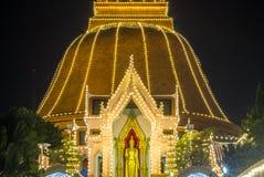 Phra Pathom Chedi Festival,Amphoe Mueang,Nakhon Pathom,Thailand on November20,2018:Phra Ruang Rodjanarith,a standing Buddha image. PHRA PATHOM CHEDI is located royalty free stock photos