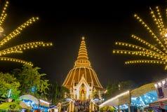 Phra Pathom Chedi Festival,Nakhon Pathom,Thailand on November20,2018:Phra Ruang Rodjanarith,a standing Buddha image in Granting Pa. PHRA PATHOM CHEDI is located stock photography