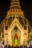 Phra Pathom Chedi Festival,Amphoe Mueang,Nakhon Pathom,Thailand on November20,2018:Phra Ruang Rodjanarith,a standing Buddha image. PHRA PATHOM CHEDI is located stock photo