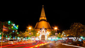 Phra Pathom Chedi pagoda,the tallest pagoda in the world. NAKHON PATHOM-APRIL 14: Night view of Phra Pathom Chedi pagoda,the tallest pagoda in the world with 127 Stock Photography