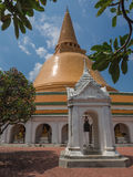 Phra Pathom Chedi stupa. And the bell pavilion Royalty Free Stock Images