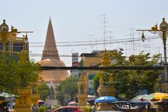 Phra Pathommachedi the temple in Thailand stock photo