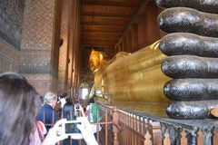 Phra Phutta Saiyat Phra niet Wat Phra Chetuphon Wimon Known ook als Tempel van Doende leunen Boedha stock foto's