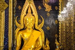 Phra Phuttha Chinnarat, Thai ancient heritage and considered as one of the most beautiful Buddha figure in Thailand, placed at Wat. Phra Si Rattana Mahathat royalty free stock photo