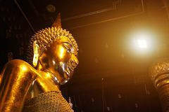The world most beautiful golden buddha statue. royalty free stock photography