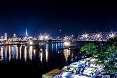 Phra Phuttha Yodfa Bridge. Is over the Chao Phraya River in Bangkok, Thailand, connecting the districts of Phra Nakhon and Thonburi stock photography