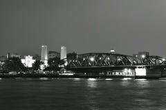 Phra Phuttha Yodfa memorial bridge ancient bridge cross Cho phraya river stock photography