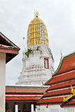 Phra prang. The 36-meter-high Phra Prang (Pagoda) constructed using the early Ayuthaya style to enshrined the relic of the Lord Buddha.Wat Phra Si Rattana Stock Photo