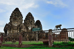 Phra Prang Sam Yod Lopburi Thailand Royaltyfria Foton