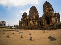Phra Prang Sam Yot, the Khmer temple in Lopburi, Thailand Stock Photo